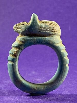 Circa 715-332Bc - Beautiful Ancient Egyptian Faience Ring With Anubis Top