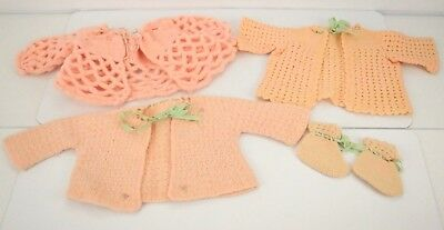 Vtg 50s 60s Crochet Pink Baby/ Doll Clothes Lot Cardigan Sweater Booties Ribbon