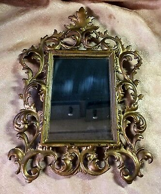 "Old Shaving? Mirror in Antique 8""x11"" Ornate Iron Frame Gold for Wall"