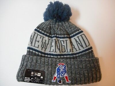 New England Patriots New Era On Field Sport Knit Hat Beanie Bobble -  Blue Gray 41472116994
