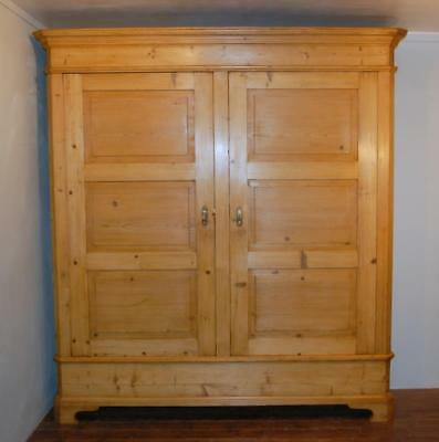 Antique Large Early Pine Wardrobe  Hall Robe Lounge Armoire Storage Knock Down