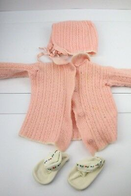 Vtg 50s 60s Crochet Pink Baby/ Doll Clothes Lot Cardigan Sweater Booties Girl