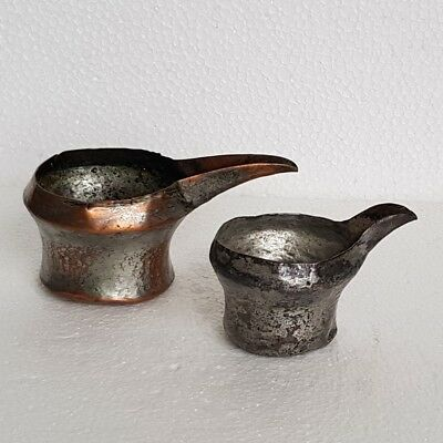 Islamic Persian Safavid Tinned Copper Small Pouring Spouted Vessels.