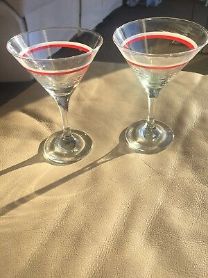2 x Art Deco Vintage Cocktail Martini Glasses white and red Bands 1960's Perfect