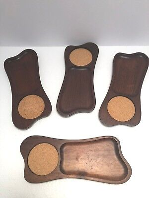 Vintage Mid Century Brown Wooden Set of Four Hand Carved Snack Coaster Trays