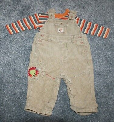 Baby Boys George Beige Dungarees And T-shirt Set Outfit Age 3-6 Months Used Outfits & Sets