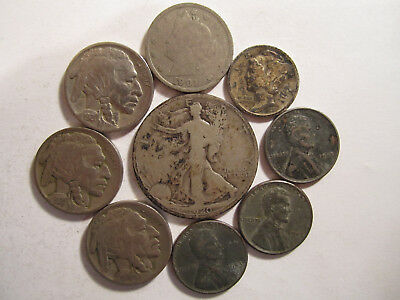 Lot of 9 US Type coins w/ Some 90% Silver Old US Coins Collection *4039