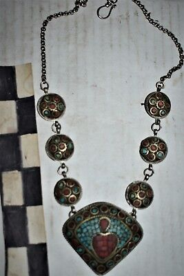 orig $499-2 NEPAL SHAMANS BRASS, TOURQOISE NECKLACE  EARLY 1900S 14""