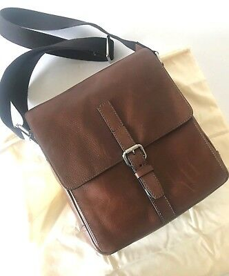 Fossil Cognac Brown Leather Davis NS City Bag Messenger Crossbody BG9274222 NWT