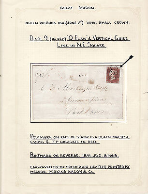 Gb - Imp 1D Red On Envelope With Black Maltese Cross Dated 1841