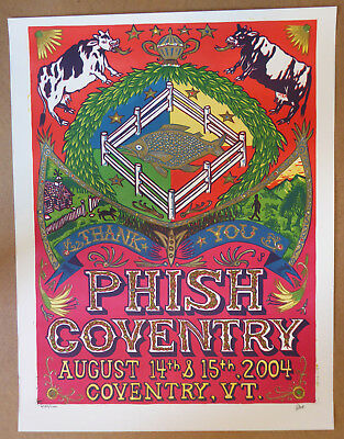 PHISH JIM POLLOCK POSTER COVENTRY VT August 14-15, 2004 S/N Print Sold out