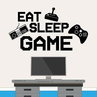 Eat Sleep Game Retro Wall Sticker Gaming Gamer Boys Girls Kids Bedroom Decal