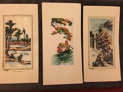 3 VIETNAM WAR ERA Hand SILK Painted Christmas Cards w/message from soldier home