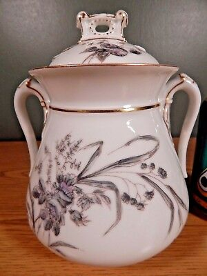 Large Antique Mid 1800's Lidded Sugar Bowl Marked  C F A