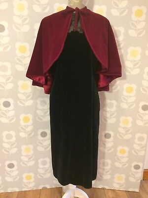 Vintage Red Velvet Mini Cape, Perfect For Christmas!