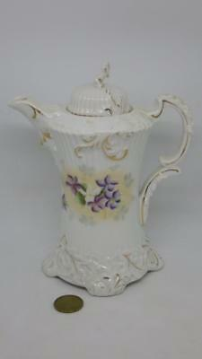 Antique Pretty Edwardian Chocolate / Hot Water Pot Embossed Violets Flowers