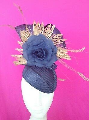 Navy Blue Metallic Gold Flower Feathers Hat Fascinator Races Melbourne Cup