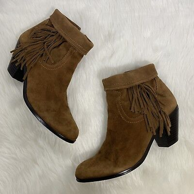 5fffd4217e097c SAM EDELMAN BROWN Louie Boots Suede Soft Saddle Fringe Ankle Booties ...