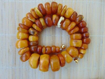 Antique natural Egg Yolk Honey Butterscotch Baltic Amber stones Necklace 75gr