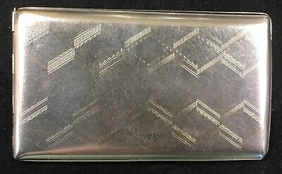 Vintage STERLING SILVER CIGARETTE CASE ELGIN AMERICAN - FOR CARDS/MONEY 135g 5x3
