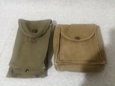 Vintage US Military Pocket Ammunition Magazine Pouch Green Canvas Bag and Other