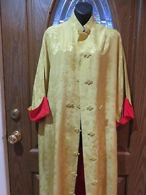 Vintage Dynasty Silk Robe - Yellow/Gold-Red Hong Kong Dressing Gown