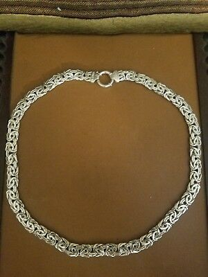 Solid Sterling Silver 925, Bright polish finish 18 Inch Byzantine Necklace