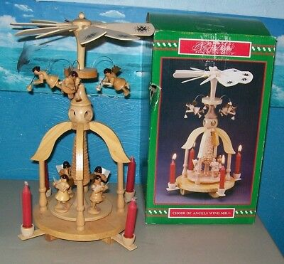 Wood Carousel Windmill Candle Holder Christmas Musicians *CHOIR OF ANGELS*