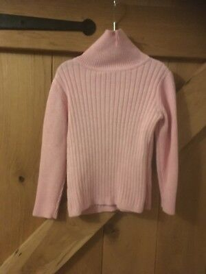 Girls Pink Ribbed Polo Neck Jumper age3/4
