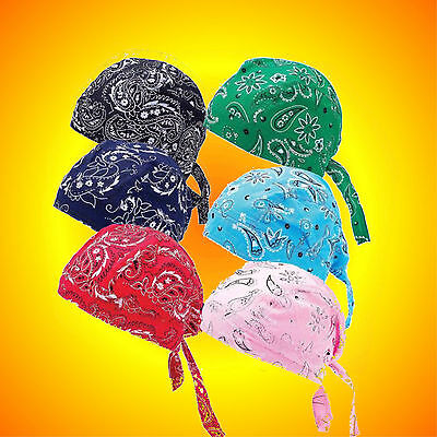 Do Rags Skull Caps-Set of 6 Assorted Paisley Print--Buy 2-- Have His & Hers Sets