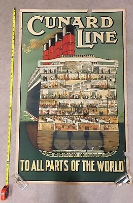 Travel poster for the Cunard Line - Cut out of Cruise Ship - RARE in this size.