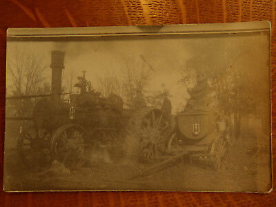 Rppc Real Photo Thresher Wagon Early Tractor