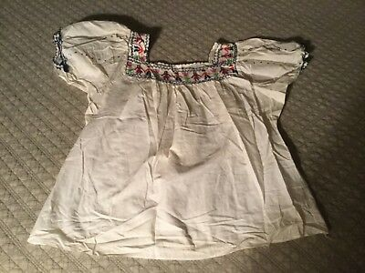 Vintage Hand Embroidered Mexican Peasant Blouse, Man & Woman, Flower