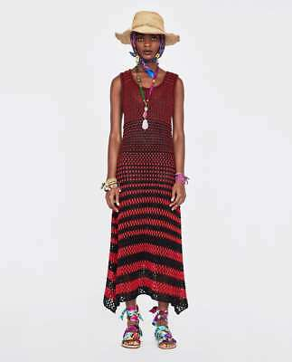 BNWT ZARA Red Black Long Maxi Striped Crochet 100% Linen Dress Lined S UK 8 10