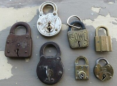 Lot of 7 Vtg Padlocks Locks Security Owl Power Lever Yale Banks