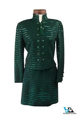 St. John Collection By Marie Gray Emerald Tassel Jacket Skirt Set Size 2/4~RARE