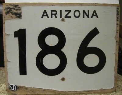"""Rare, Vintage, Authentic Us Arizona Highway Route 186 Wood Sign 24""""x 30""""x1/2"""""""