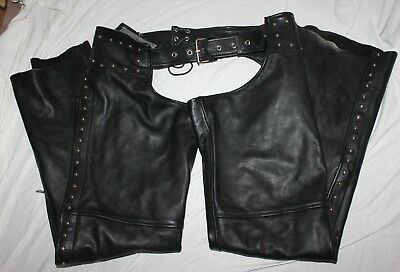 UNIK Premium Motorcycle Riding Leather Chaps Large Harley Studded LQQK