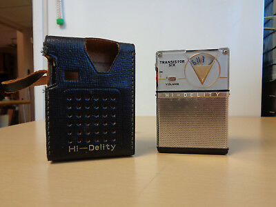 Beautiful Near Mint Hi-Delity Transistor Radio w/Leather Case 6T-250