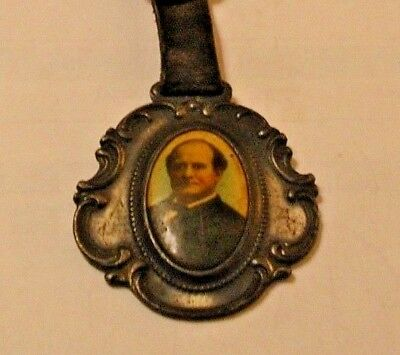 Rare 1896-1908 William Jennings Bryan Political Celluloid&metal Watch Fob&strap
