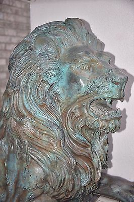 MASSIVE Pair of BRONZE Antique LION Sculptures Statues Entry Gate Guards Signed