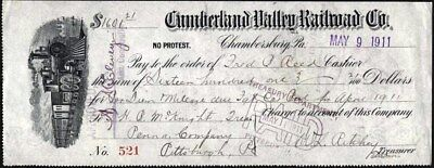 Check:  Cumberland Valley Railroad Co, Pa., 1911 With Train Vignette, Left