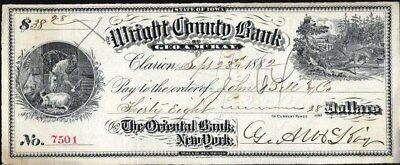 Check:  Wright County Bank, Clarion, Iowa, 1882, Vignettes Right And Left
