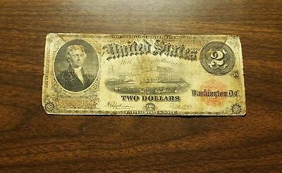 1917 $2 Two Dollar US Bank Note Legal Tender Large Bill Jefferson F 961