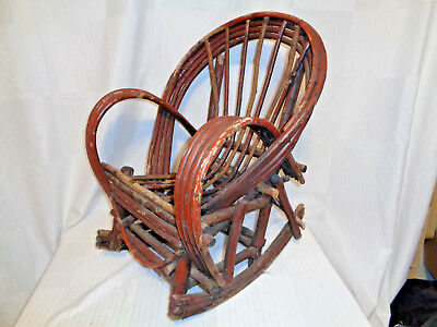 Very Early Antique Adirondack Small Twig Rocker With Old Red Paint