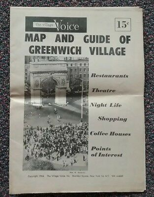 The Village Voice 1964 Map & Guide Of Greenwich Village NYC Excellent Condition