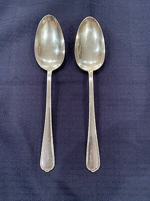 International Sterling Silver Pine Tree Flatware Serving Spoon 2 Pieces Antique