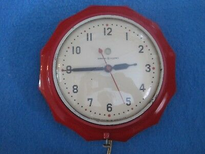 Vintage Art Deco Ge General Electric Plastic Electric Wall Clock Red