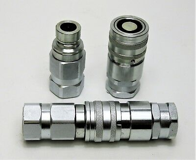 """Flat Face Hydraulic Coupling 1/2"""" Bspp Male And Female Pair Bobcat, Yanmar"""