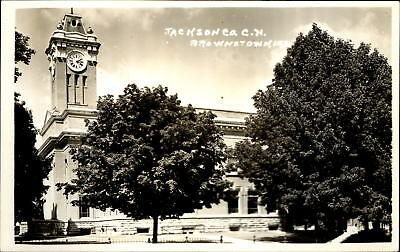 Jackson County Court House ~ Brownstown Indiana ~ RPPC real photo